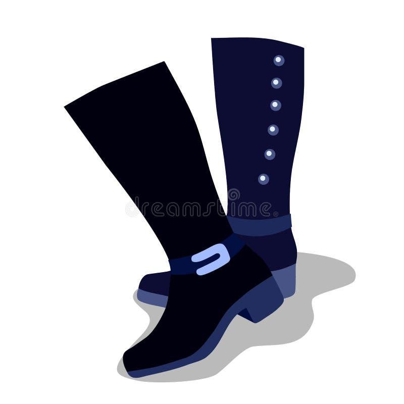 Ботинки высоких голубых женщин с пятками, изолированными на белой предпосылке также вектор иллюстрации притяжки corel бесплатная иллюстрация