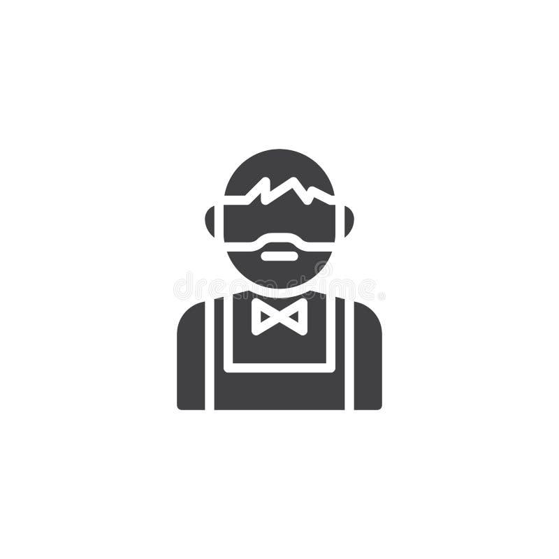 Бородатый значок вектора бармена иллюстрация штока