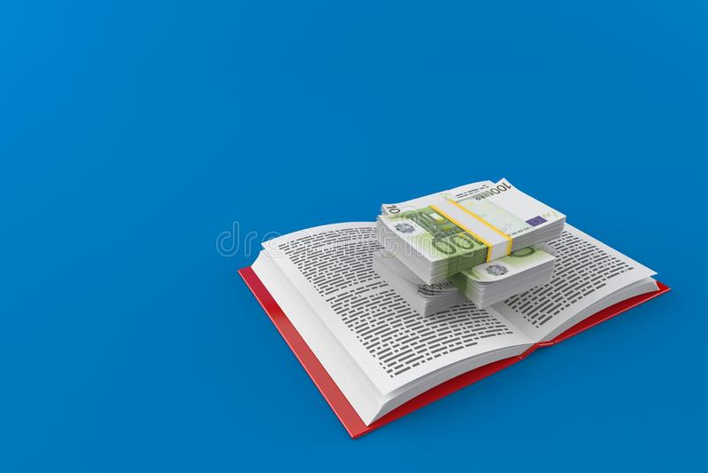 Валюта евро на открытой книге иллюстрация вектора