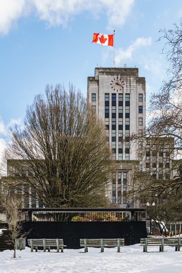 ВАНКУВЕР, КАНАДА - 22-ое февраля 2019: Здание городской ратуши Ванкувера в Британской Колумбии зимнего времени стоковая фотография rf