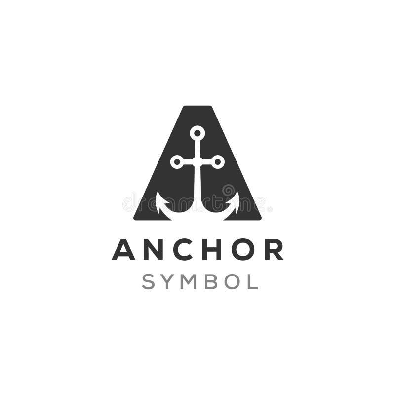 Вектор анкера в начальных дизайнах логотипа a иллюстрация штока