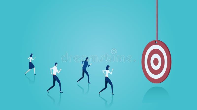 Вектор бизнесменов бежать к цели иллюстрация вектора