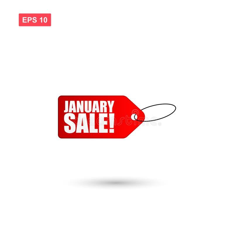 Вектор бирки продажи в январе изолировал иллюстрация штока