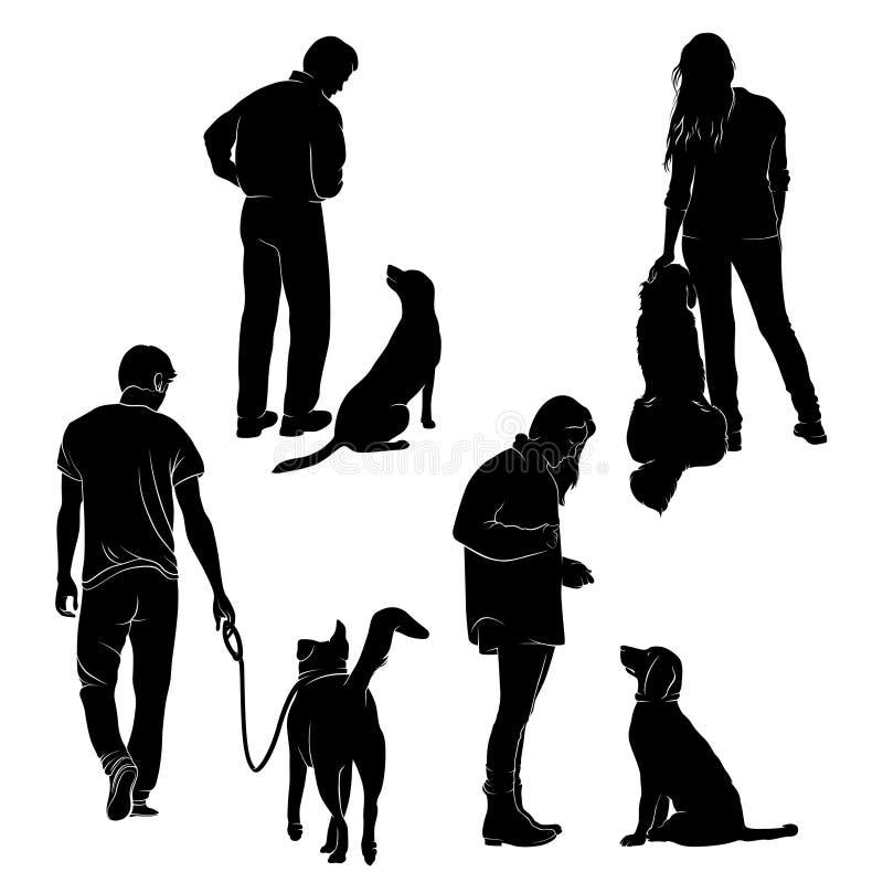 Вектор запаса силуэта вектора собаки тренируя бесплатная иллюстрация