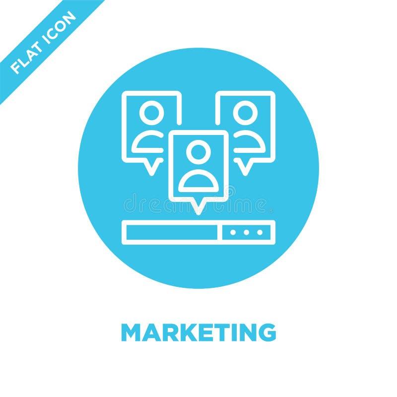 Вектор значка маркетинга Тонкая линия иллюстрация вектора значка плана маркетинга выходя на рынок символ для пользы на сети и моб иллюстрация вектора