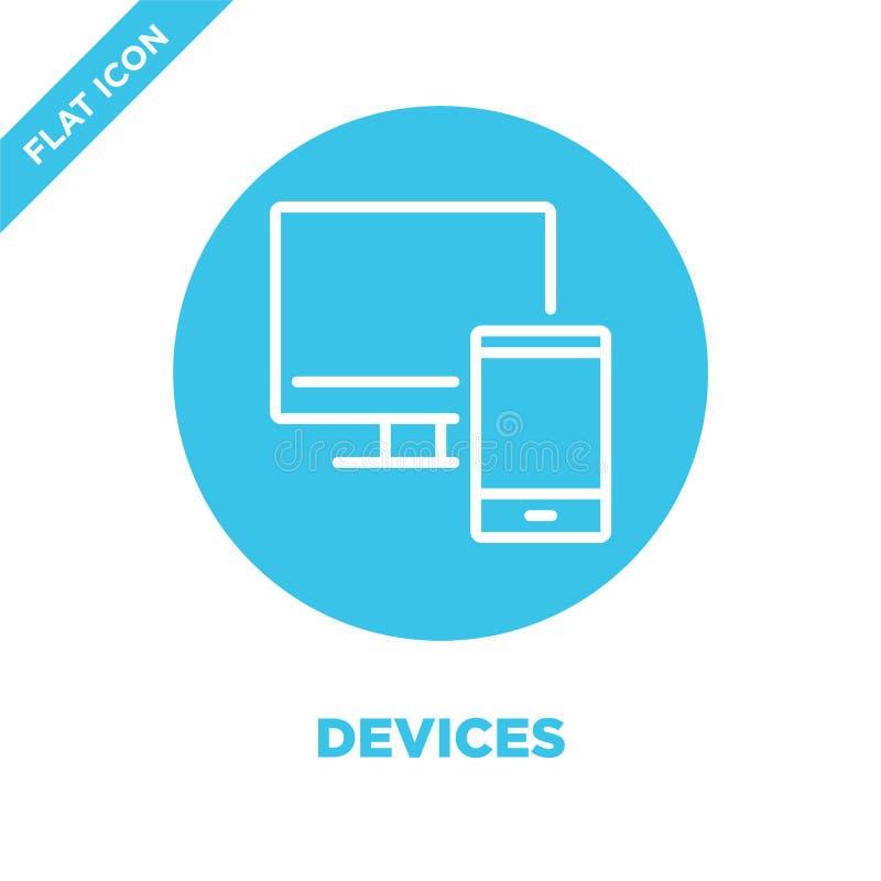 вектор значка приборов Тонкая линия иллюстрация вектора значка плана приборов символ приборов для пользы на сети и мобильных прил иллюстрация штока