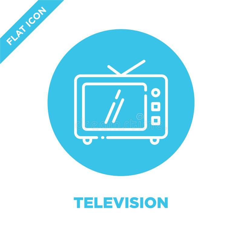 Вектор значка телевидения Тонкая линия иллюстрация вектора значка плана телевидения символ телевидения для пользы на сети и мобил иллюстрация вектора