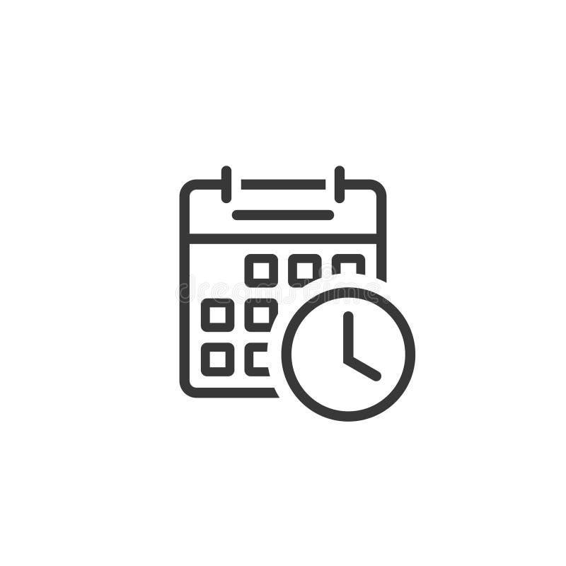 Вектор значка часов календаря, линия искусство плана символа напоминания, символа события планируя изолировал clipart иллюстрация штока