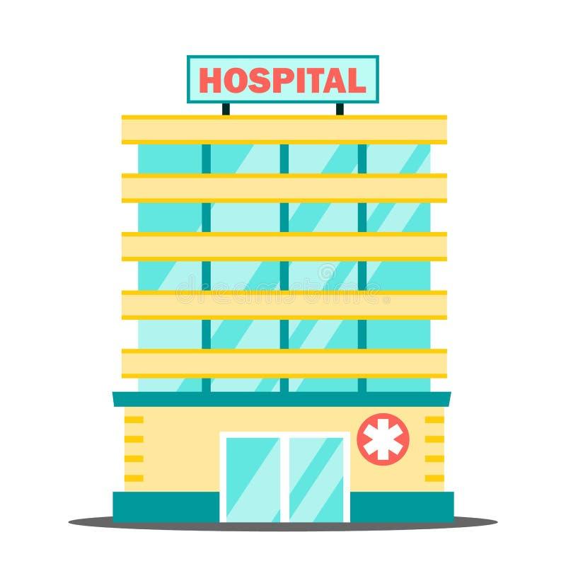 Вектор здания больницы МЕДИЦИНСКАЯ принципиальная схема фасад ambrosial Срочность и чрезвычайные обслуживани Изолированный плоски иллюстрация вектора