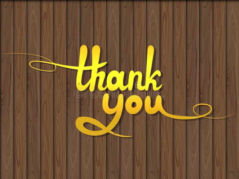 Вектор золотой благодарит вас слова на темной деревянной предпосылке, текстурированном элементе дизайна бесплатная иллюстрация