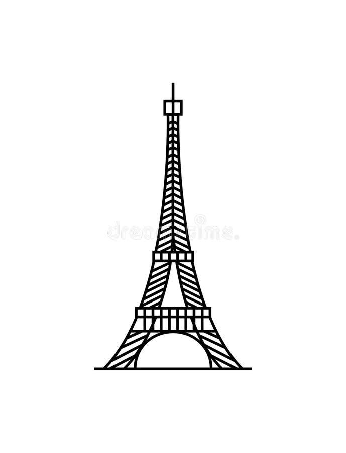 Вектор иллюстрации предпосылки Эйфелевой башни черным по белому бесплатная иллюстрация
