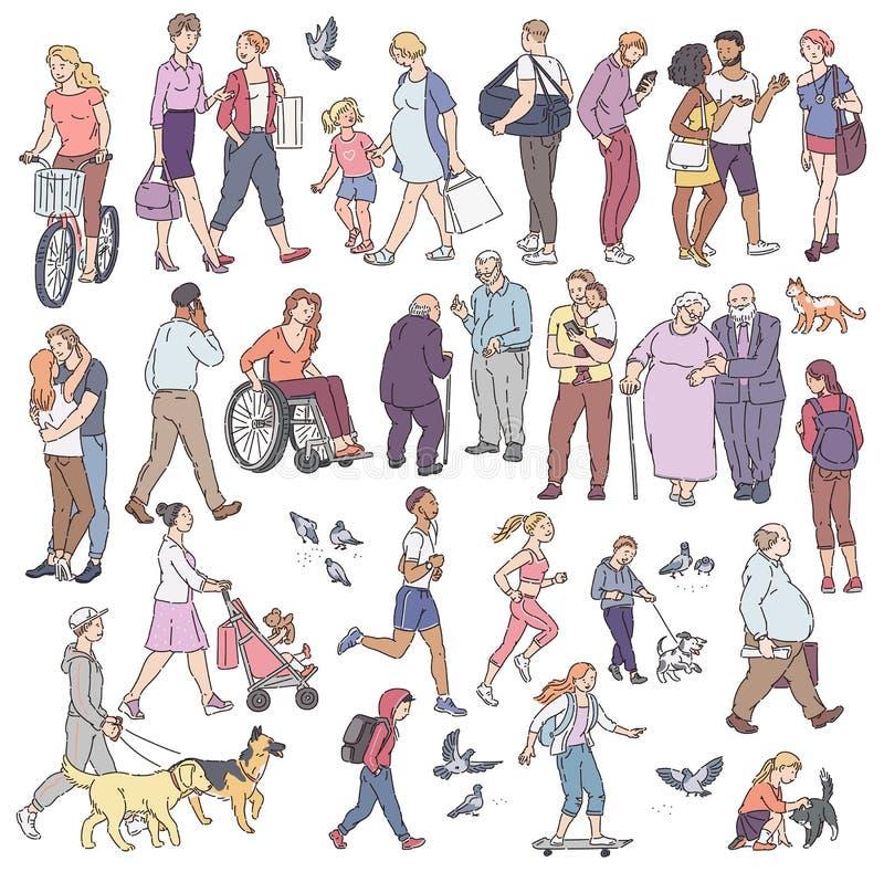 Вектор идя городская толпа на улице в городе Женщина с людьми детей с велосипедистом голубей собак и другими характерами иллюстрация штока