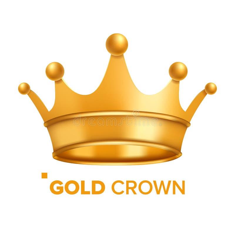 Вектор кроны золота Король Конструировать Королевский значок Изолированная реалистическая иллюстрация бесплатная иллюстрация