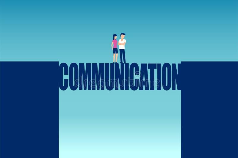 Вектор пары разрешая все недоразумения стоя на мосте связи бесплатная иллюстрация