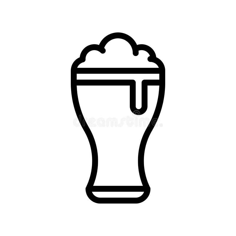 Вектор пива стеклянный, пиршество линии значка St. Patrick иллюстрация вектора