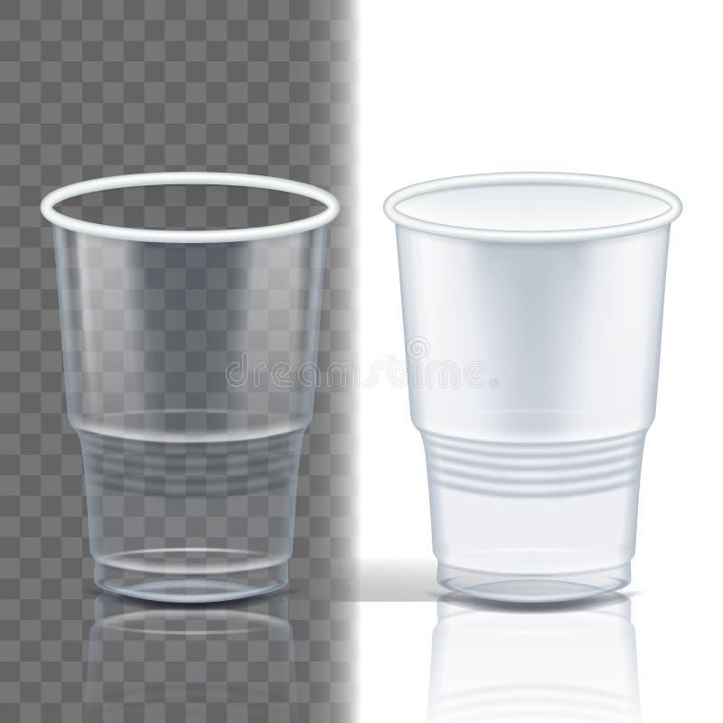 Вектор пластиковой чашки прозрачный Упаковка продукта Кружка напитка Контейнер устранимой ясности Tableware пустой Холодный или г бесплатная иллюстрация