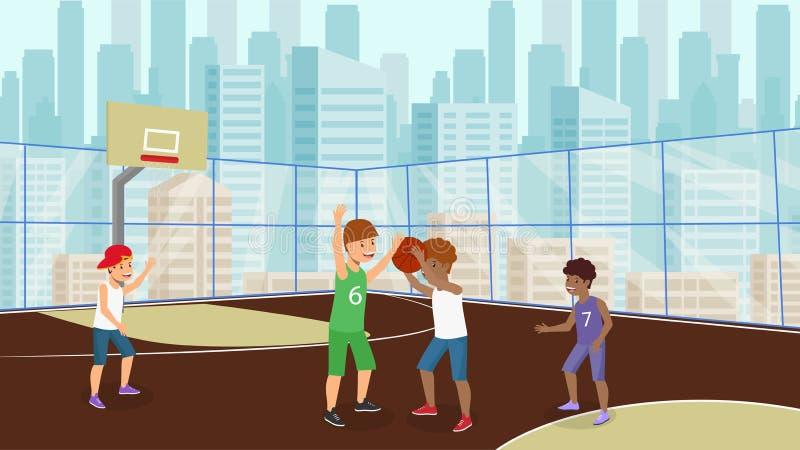 Вектор плоско много детей играет белизну мальчика баскетбола иллюстрация штока