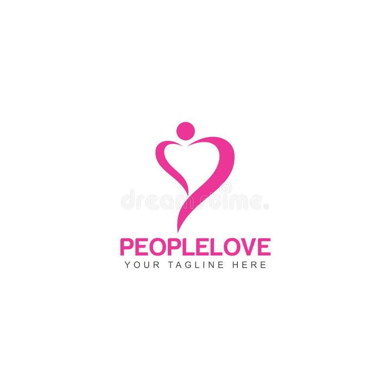 Вектор дизайна шаблона логотипа любов людей, дизайн концепции, творческий символ, значок, эмблема иллюстрация штока