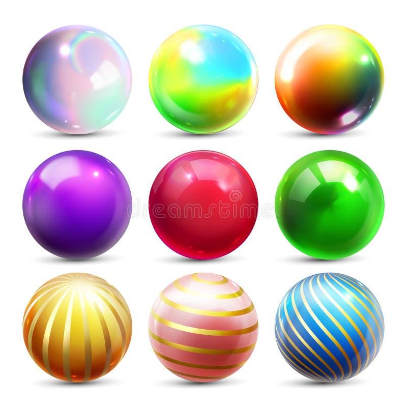 Вектор сферы блеска установленный Шарик шара светя Накаляя металл или пластиковый абстрактный круг Лоснистый значок блеска Золото иллюстрация вектора