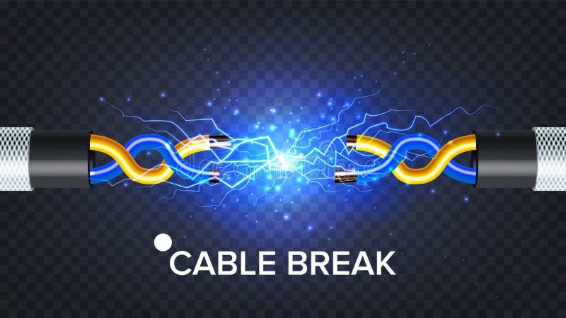 Вектор электрического кабеля перерыва Сила электрической дуги Энергия электричества реалистическая изолированная иллюстрация 3D иллюстрация вектора