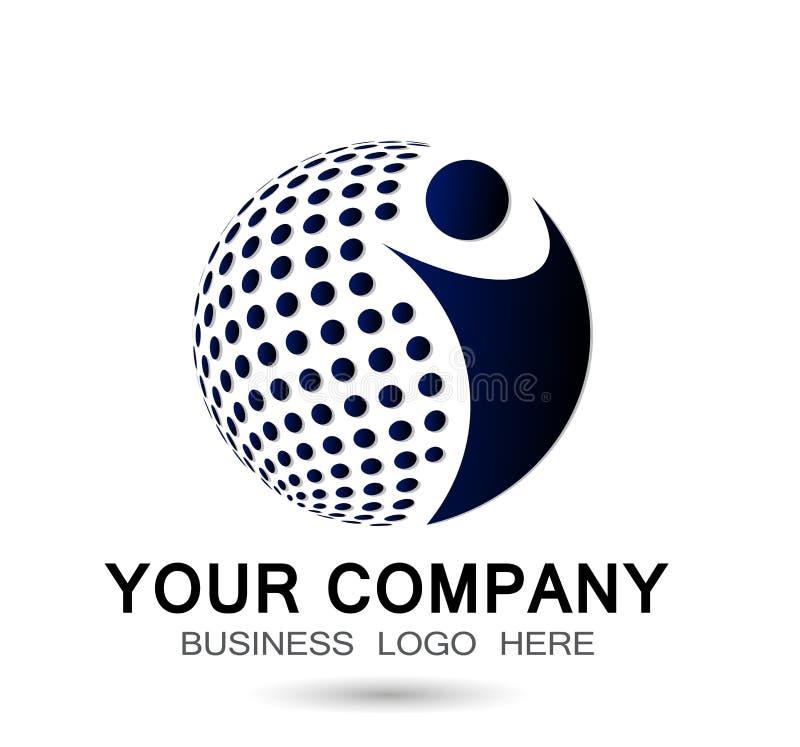 Вектор элемента значка логотипа общины здоровья работы команды соединения людей мира глобуса социальный совместно на белой предпо иллюстрация вектора