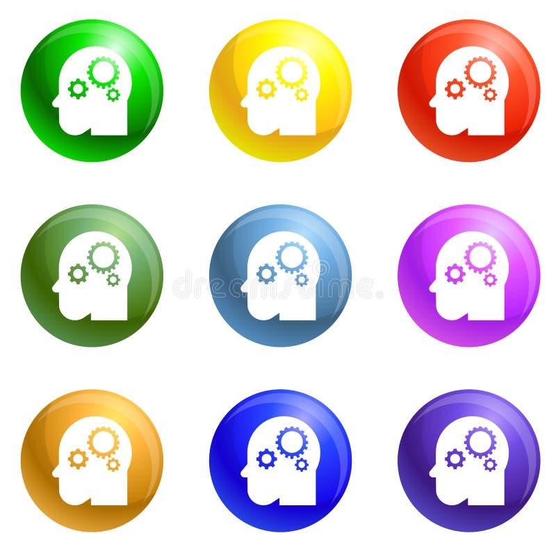 Вектор умных значков шестерни разума установленный иллюстрация штока