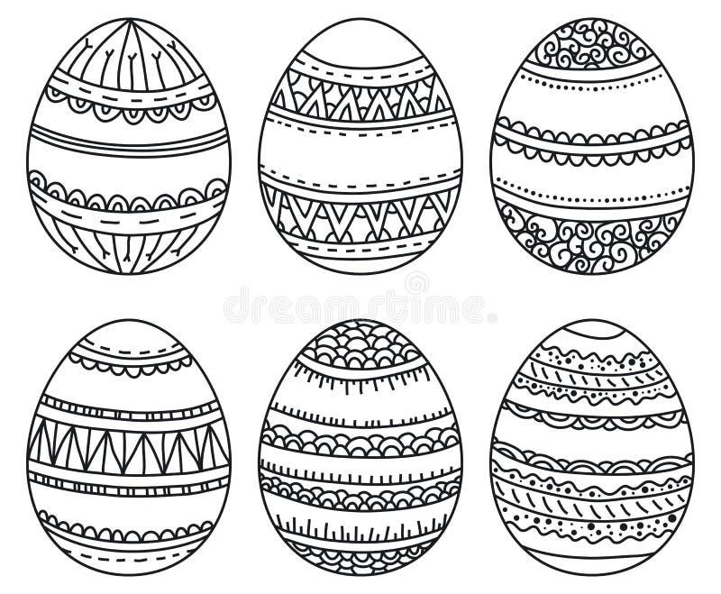 Вектор установил пасхальных яя с геометрической картиной для книжка-раскраски нарисованные вручную декоративные элементы в вектор иллюстрация штока