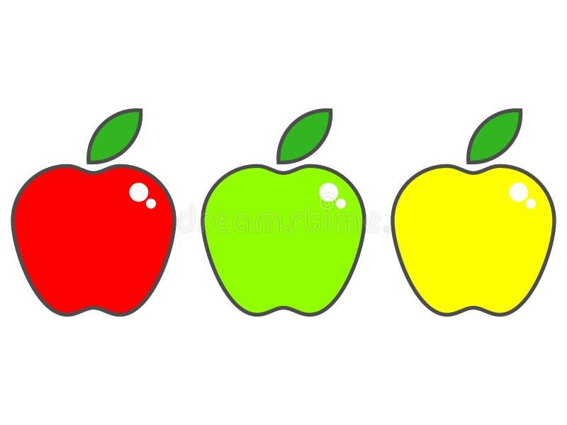 Вектор установил яблок, красного цвета, зеленого цвета и желтого цвета изолированных на белой предпосылке иллюстрация вектора
