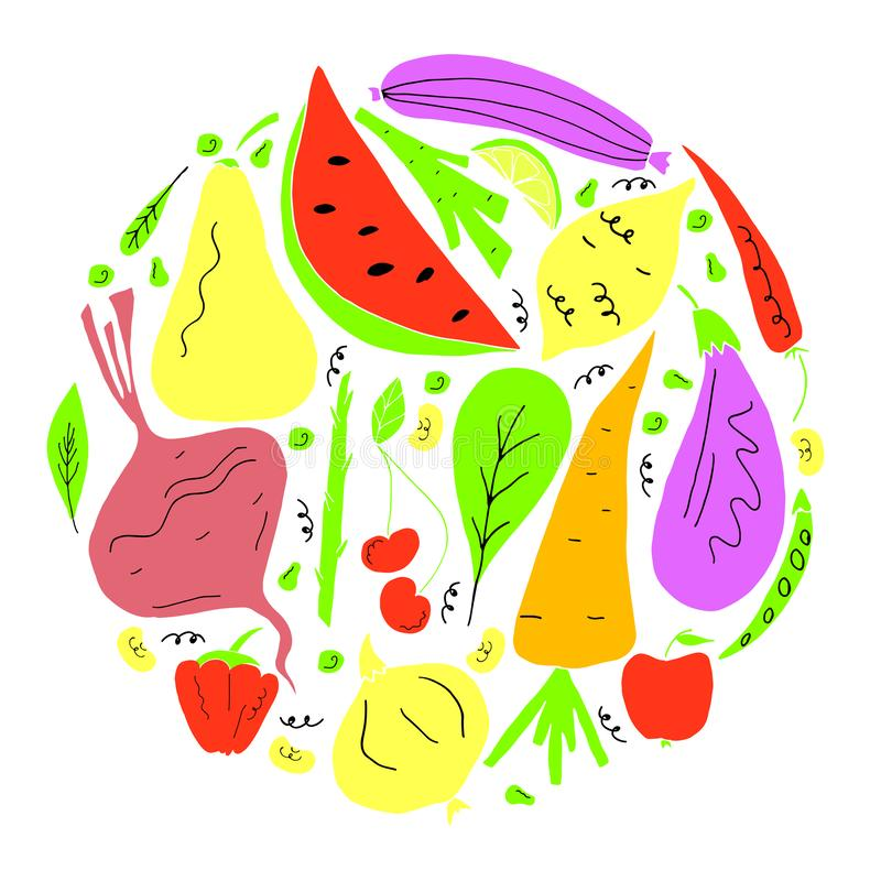 Вектор установил фрукта и овоща в стиле мультфильма руки вычерченном Вегетарианская принципиальная схема бесплатная иллюстрация
