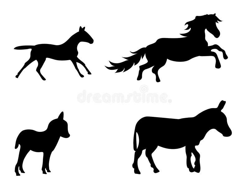 Вектор установил silhouetted ослов и лошадей иллюстрация штока