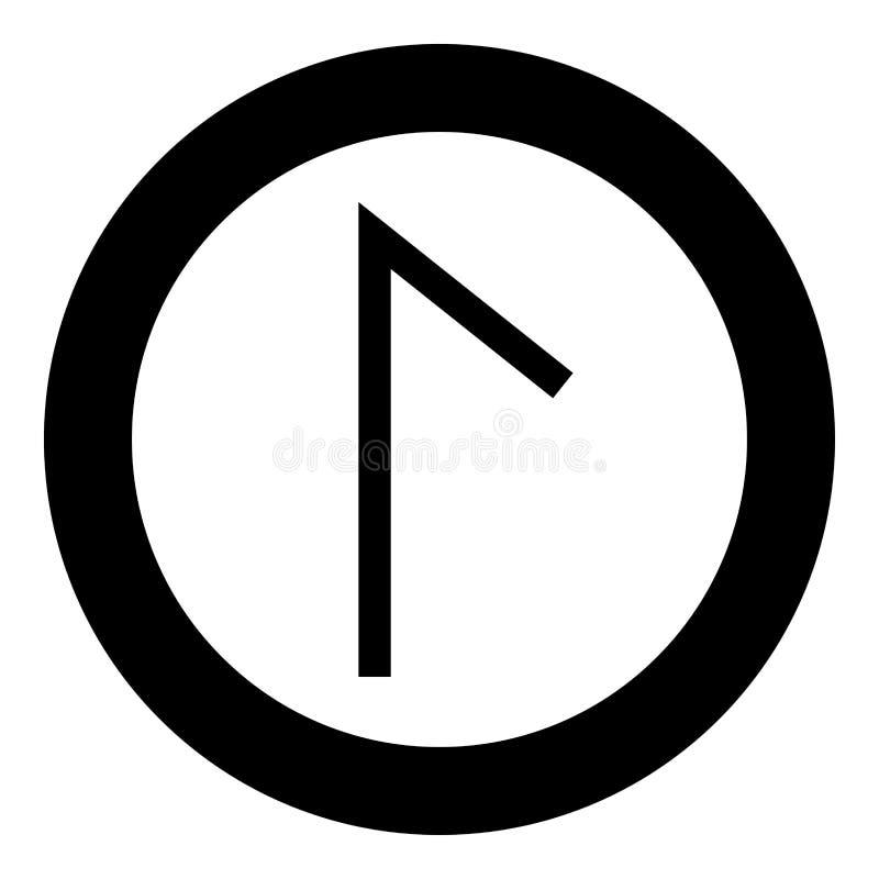 Вектор цвета черноты значка символа лагуны озера Laguz rune Lagu в изображении стиля круглой иллюстрации круга плоском бесплатная иллюстрация
