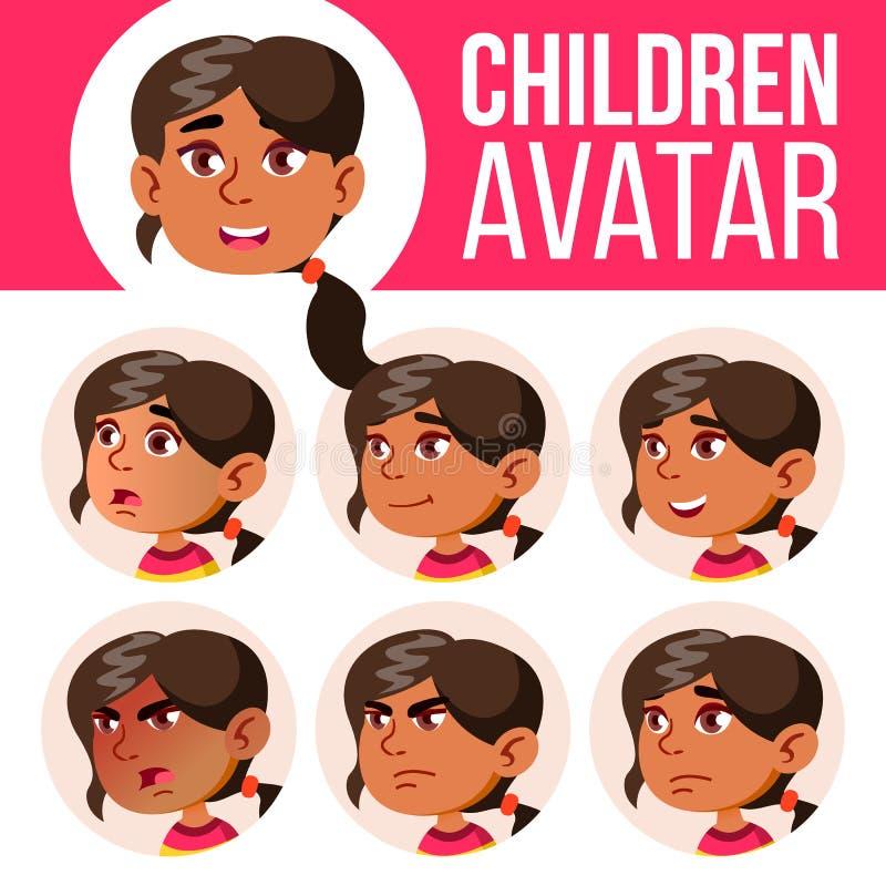 Вектор ребенк арабского, мусульманского воплощения девушки установленный детсад Смотрите на взволнованности Эмоциональный, лицево иллюстрация штока