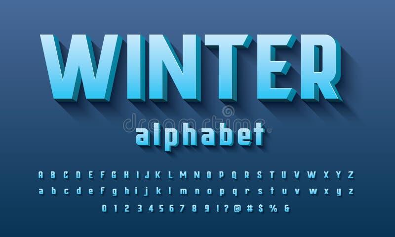 Вектор современного смелого дизайна алфавита 3D иллюстрация вектора