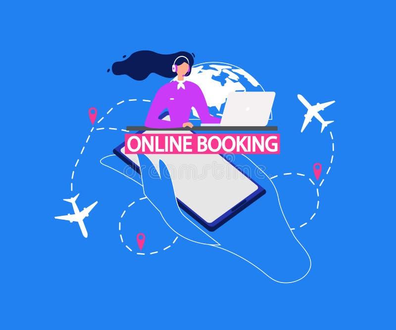 Вектор обслуживания авиатранспортной компании онлайн записывая иллюстрация вектора