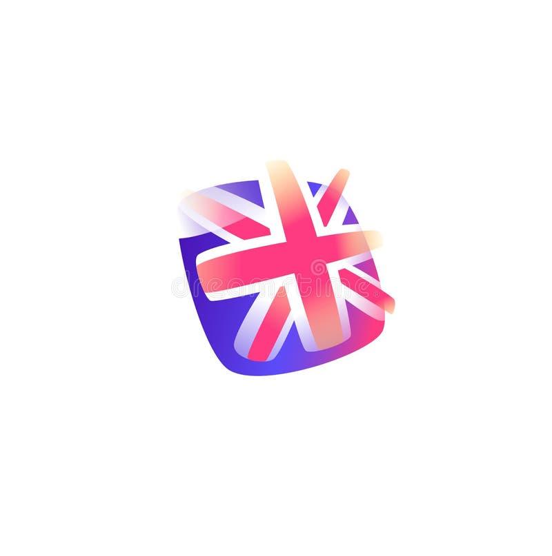 великобританская икона флага флаг Британии большой зацепляет икону Изображение изолировано на белой предпосылке Сформируйте стиль иллюстрация штока