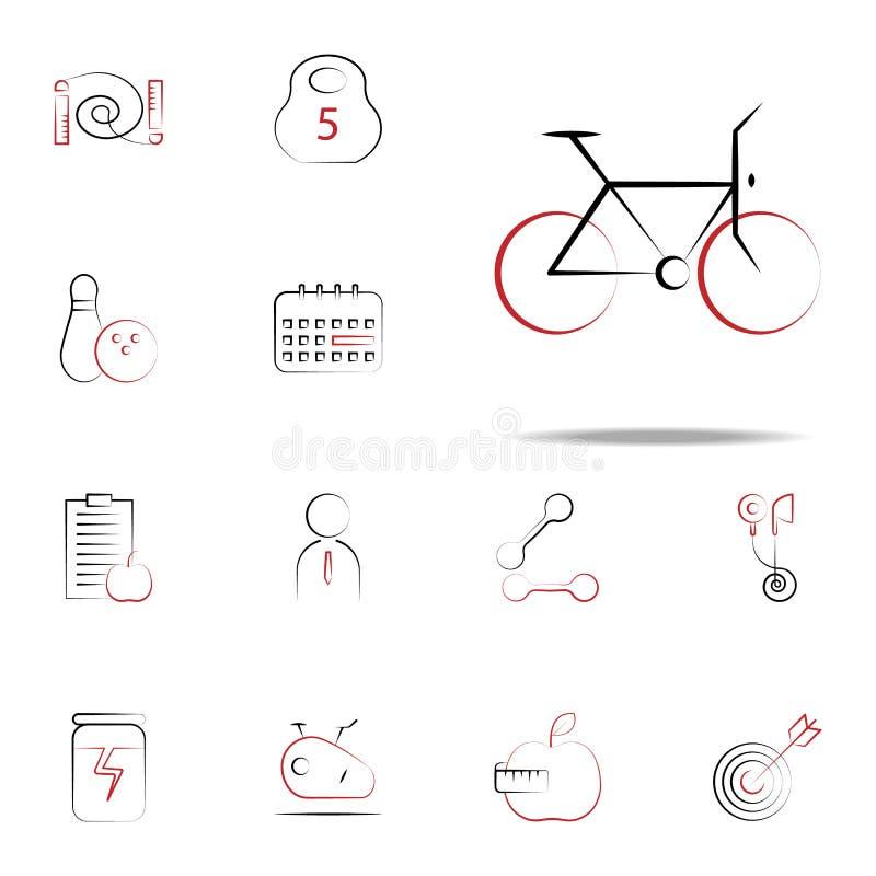 велосипед икона Комплект значков фитнеса всеобщий для сети и черни иллюстрация штока