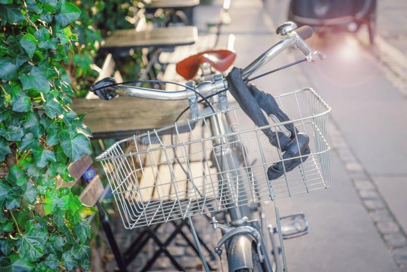 Велосипед с металлической корзиной и солнечным утром Зеленые листья и слепимость солнца Самая лучшая погода стоковые изображения