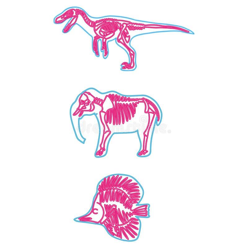 Велоцираптор, слон, иллюстрация вектора рыб неоновая каркасная Ископаемый набор мотива мультфильма иллюстрация вектора