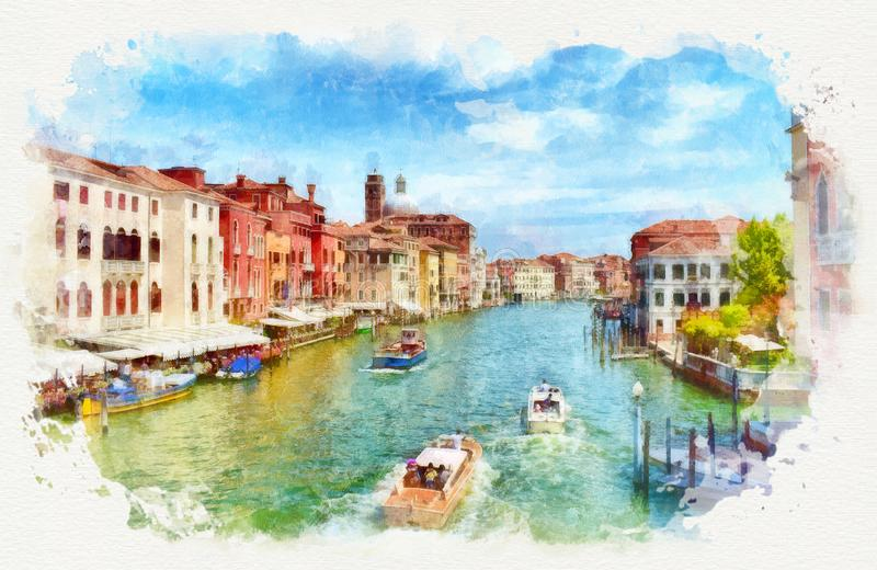 Венецианский большой канал со шлюпками, картина акварели стоковое фото