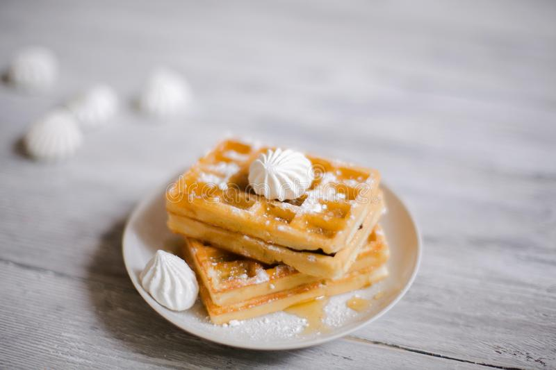 Viennese wafers with honey and powdered sugar. royalty free stock image