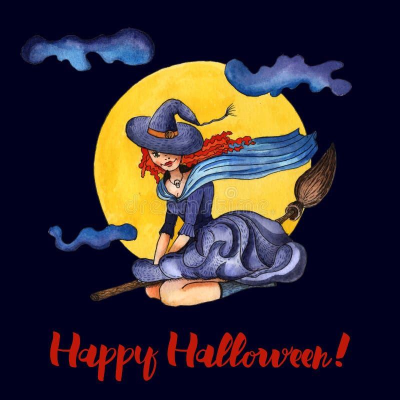 Ведьма иллюстрации на broomstick бесплатная иллюстрация