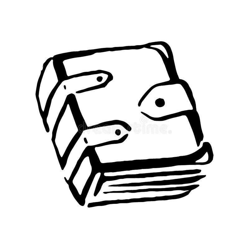 Ведьма руки вектора вычерченная и книга волшебной иллюстрации деталя старая на белой предпосылке иллюстрация штока