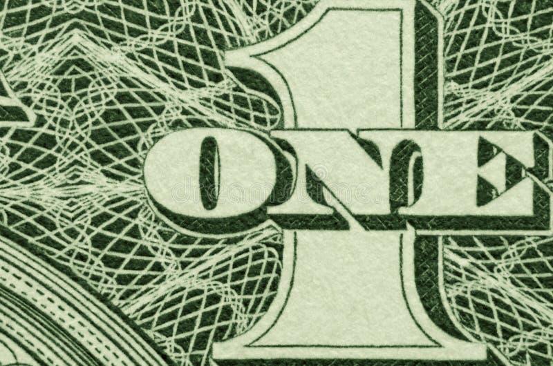Весьма конец вверх ОДНОГО и 1 от американской долларовой банкноты стоковые фотографии rf