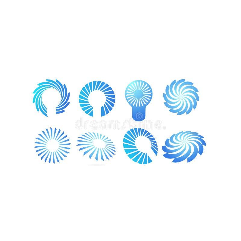 Ветер, спираль, идеи, лампа, шарик, вентилятор, Солнце, синь, свирль, иллюстрации вектора элемента движения иллюстрация штока