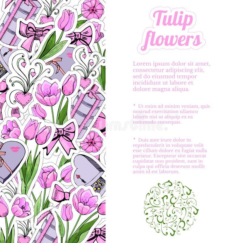 Вертикальный состав прямоугольника притяжки руки и эскиз цвета розовых цветков тюльпана и листьев, sweetmeat, bowes иллюстрация вектора
