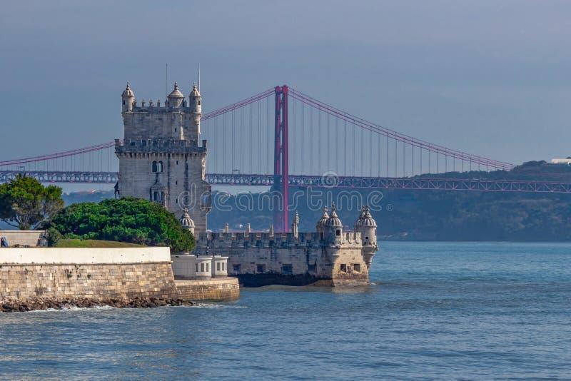 Взгляд башни Belem, Лиссабона, Португалии стоковое изображение