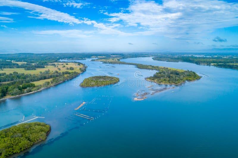 Взгляд залива пеликана около Harrington стоковые фотографии rf