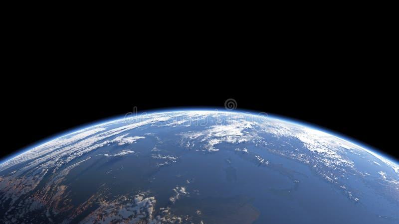Взгляд земли от космоса или spacestation стоковое фото rf