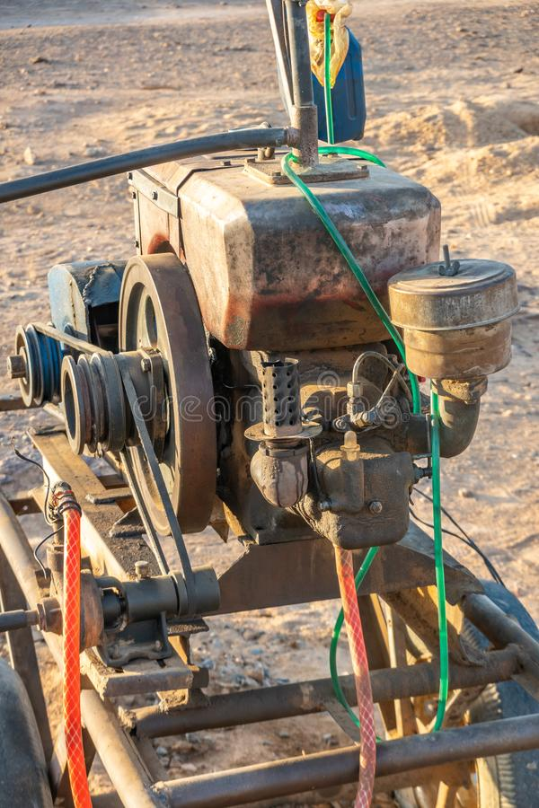 Взгляд конца-вверх двигателя для насоса для нагнетая воды в Судане стоковые фото