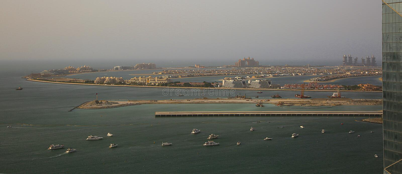 Взгляд ладони Jumeriah в Дубай стоковое фото